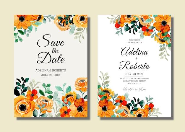 Conjunto de cartão de convite de casamento com floral laranja com aquarela