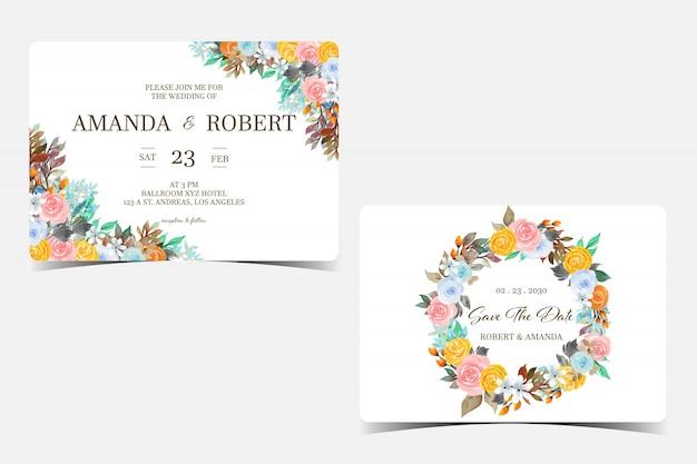Conjunto de cartão de convite de casamento com flores coloridas