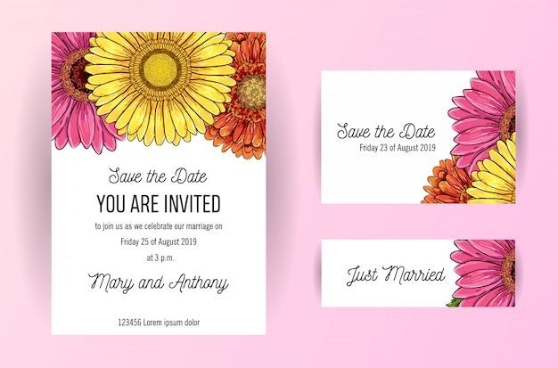 Conjunto de cartão de convite de casamento com flores de gerbera