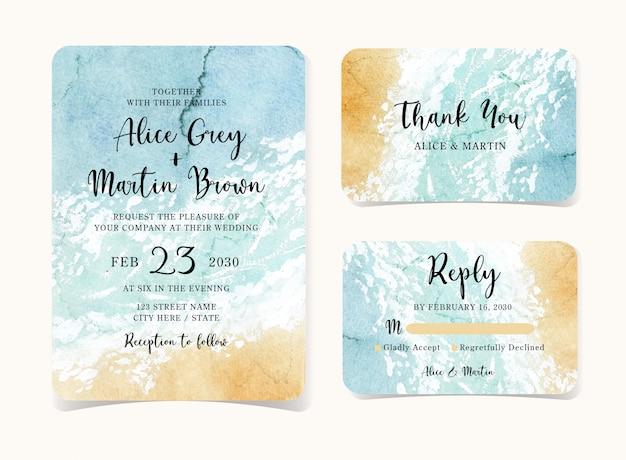 Conjunto de cartão de convite de casamento com fundo abstrato praia
