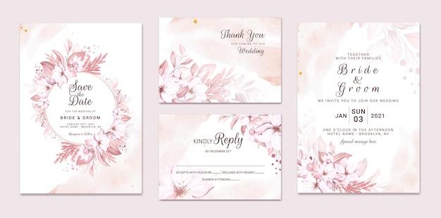 Conjunto de cartão de convite de casamento com lindas flores e folhas cremosas macias Vetor Premium