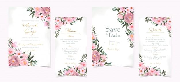 Conjunto de cartão de convite de casamento com lindas flores vermelhas