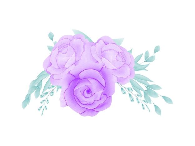 Conjunto de cartão de convite de casamento com moldura floral em aquarela feito à mão