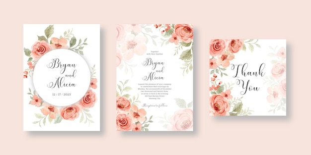 Conjunto de cartão de convite de casamento com rosa flor em aquarela