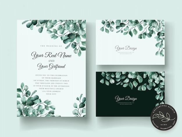 Conjunto de cartão de convite de casamento de eucalipto elegante
