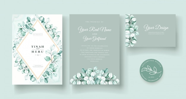 Conjunto de cartão de convite de casamento de eucalipto em aquarela
