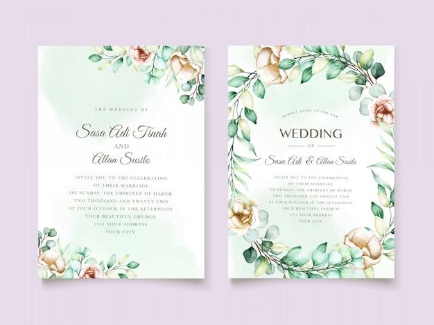Conjunto de cartão de convite de casamento de eucalipto