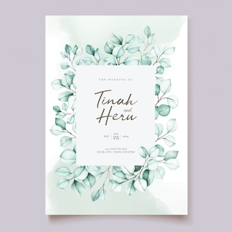 Conjunto de cartão de convite de casamento de eucalipto Vetor grátis