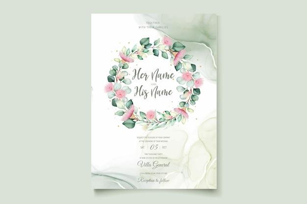 Conjunto de cartão de convite de casamento de flor de eucalipto