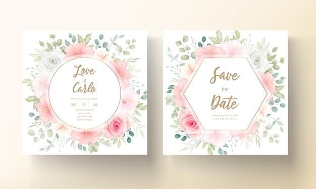 Conjunto de cartão de convite de casamento de flores e folhas românticas