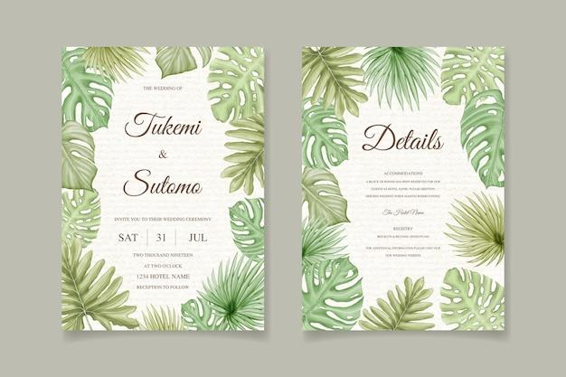 Conjunto de cartão de convite de casamento de folhas tropicais