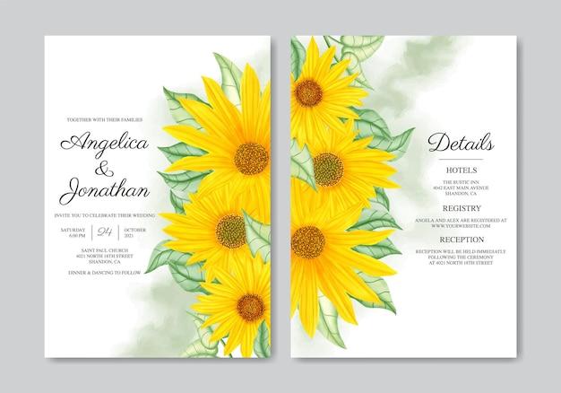 Conjunto de cartão de convite de casamento de girassol desenhado à mão