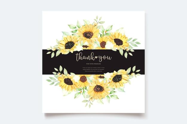 Conjunto de cartão de convite de casamento de girassol em aquarela