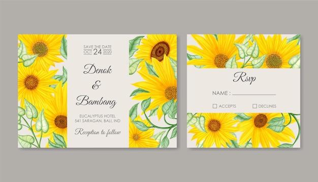 Conjunto de cartão de convite de casamento de girassol vintage de verão