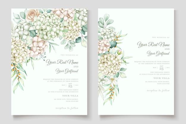 Conjunto de cartão de convite de casamento de hortênsia em aquarela