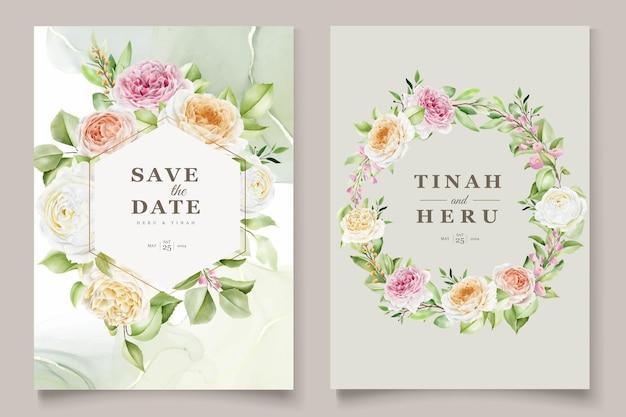 Conjunto de cartão de convite de casamento de lindas rosas desenhadas à mão Vetor Premium