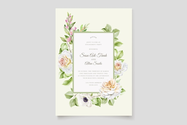 Conjunto de cartão de convite de casamento de lindas rosas desenhadas à mão