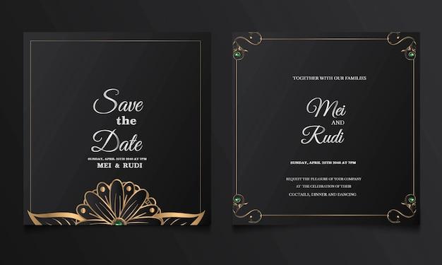 Conjunto de cartão de convite de casamento de luxo para salvar a data