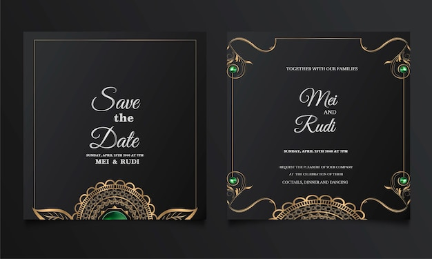 Conjunto de cartão de convite de casamento de luxo