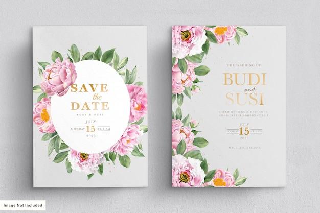 Conjunto de cartão de convite de casamento de peônias em aquarela