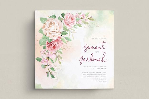 Conjunto de cartão de convite de casamento de rosas elegantes
