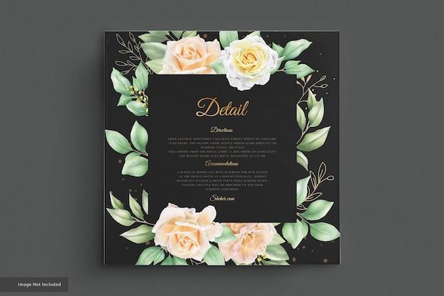 Conjunto de cartão de convite de casamento de rosas em aquarela