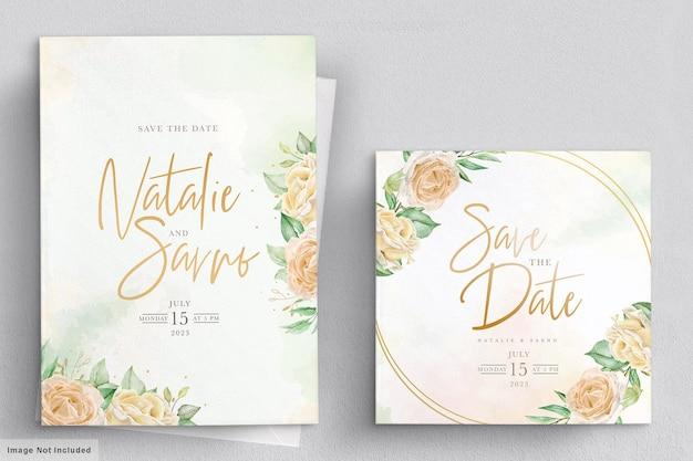 Conjunto de cartão de convite de casamento de rosas florais em aquarela