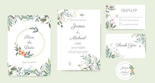 Conjunto de cartão de convite de casamento decorado com folhas verdes, design de folha bonita, fundo branco