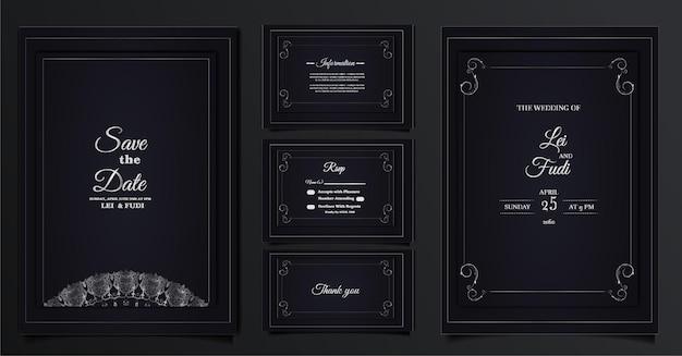 Conjunto de cartão de convite de casamento elegante coleção