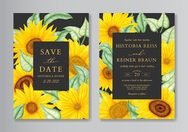 Conjunto de cartão de convite de casamento elegante girassol aquarela