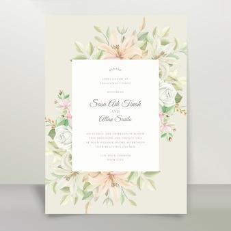 Conjunto de cartão de convite de casamento elegante lírio