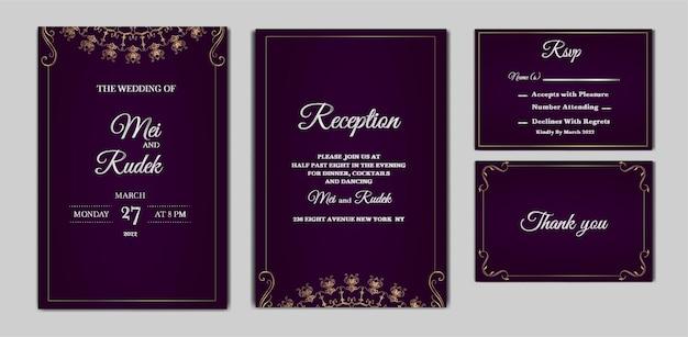 Conjunto de cartão de convite de casamento elegante para salvar a data