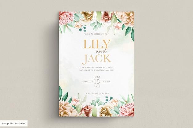 Conjunto de cartão de convite de casamento elegante peônias aquarela