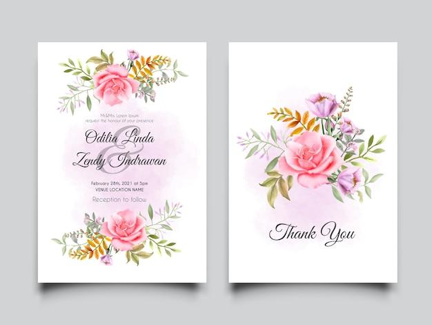 Conjunto de cartão de convite de casamento elegante rosa suave
