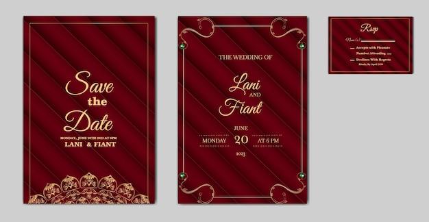 Conjunto de cartão de convite de casamento elegante