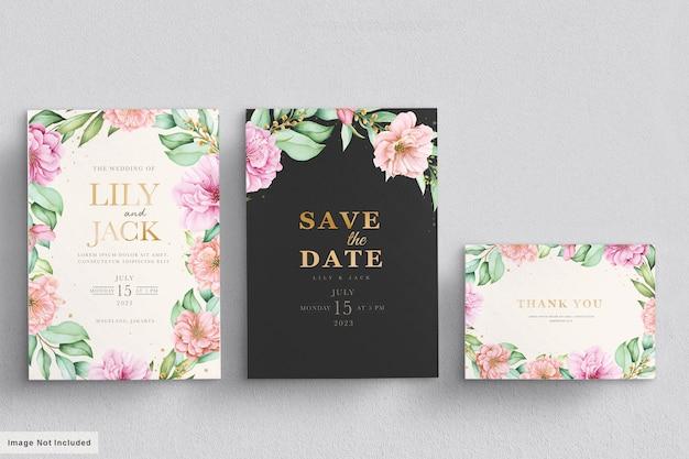 Conjunto de cartão de convite de casamento em aquarela de flor de cerejeira
