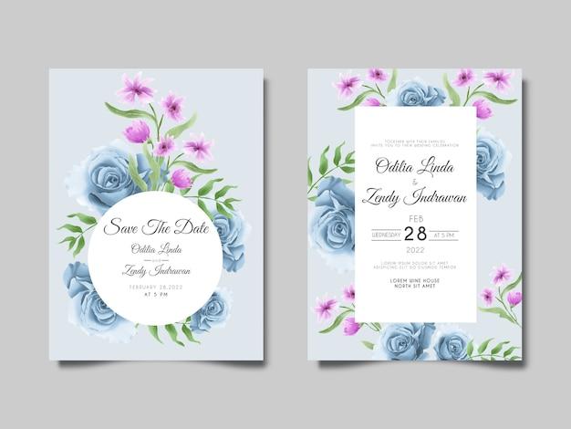 Conjunto de cartão de convite de casamento em aquarela lindas rosas azuis