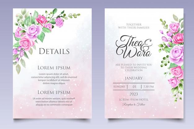 Conjunto de cartão de convite de casamento floral aquarela elegante