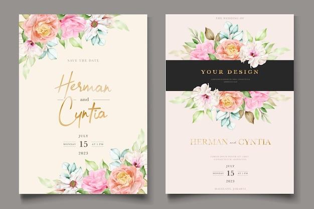 Conjunto de cartão de convite de casamento floral colorido elegante Vetor grátis
