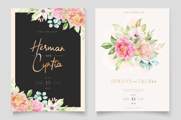 Conjunto de cartão de convite de casamento floral colorido elegante
