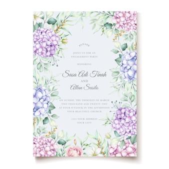 Conjunto de cartão de convite de casamento floral de hortênsia em aquarela elegante