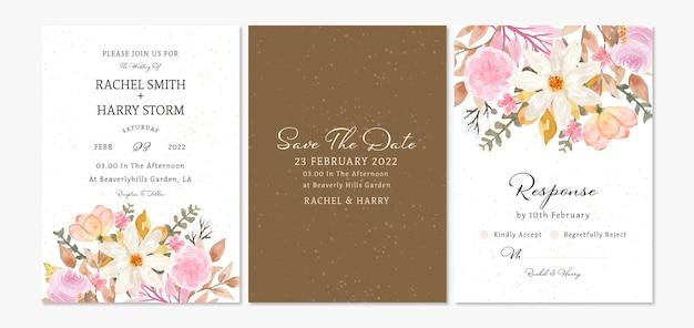 Conjunto de cartão de convite de casamento floral de outono com lindas flores em aquarela