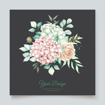 Conjunto de cartão de convite de casamento floral desenhado à mão em aquarela