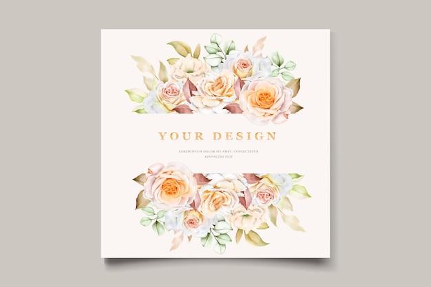 Conjunto de cartão de convite de casamento floral desenhado à mão romântico