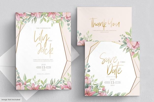 Conjunto de cartão de convite de casamento floral desenhado à mão
