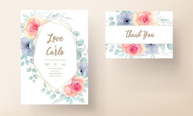 Conjunto de cartão de convite de casamento floral elegante