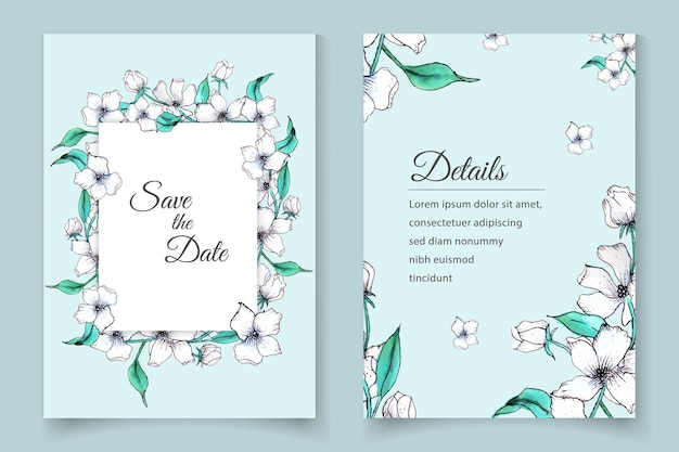 Conjunto de cartão de convite de casamento floral em aquarela desenhado à mão