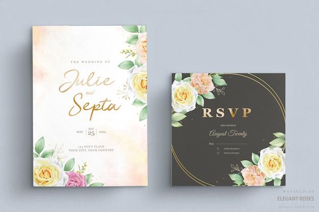 Conjunto de cartão de convite de casamento floral em aquarela elegante