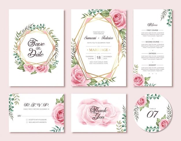 Conjunto de cartão de convite de casamento floral flores em aquarela
