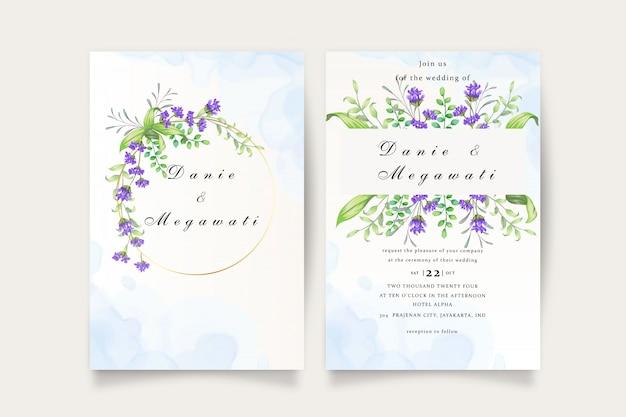 Conjunto de cartão de convite de casamento floral lindo